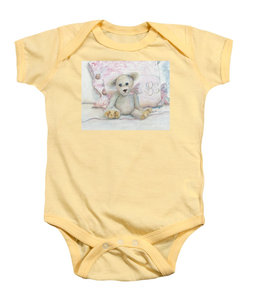 Teddy Bear Baby Onesie featuring the painting Teddy Friend by Nadine Rippelmeyer