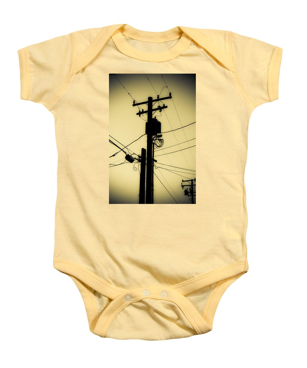 Telephone Pole Baby Onesie featuring the photograph Telephone Pole 2 by Scott Campbell