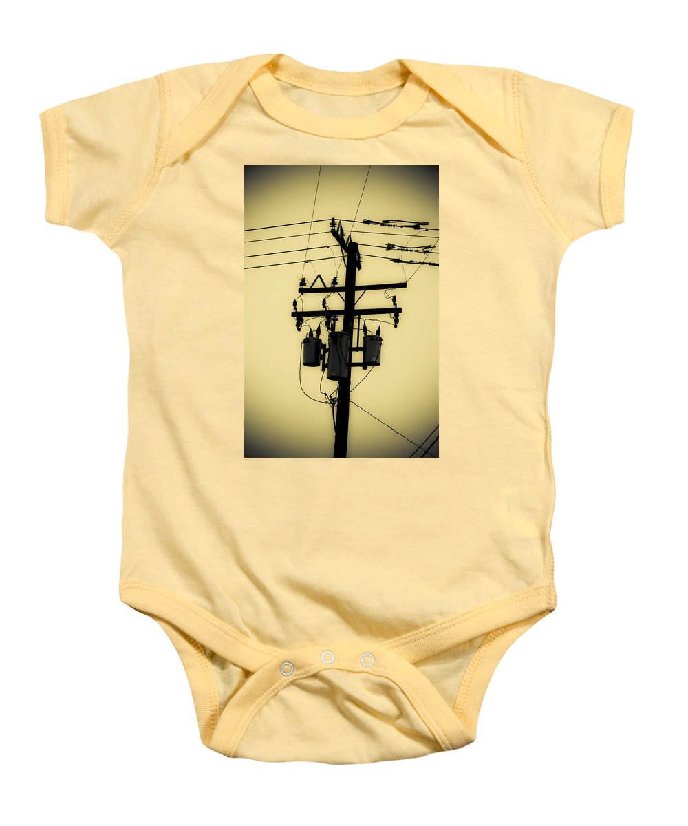 Telephone Pole Baby Onesie featuring the photograph Telephone Pole 3 by Scott Campbell