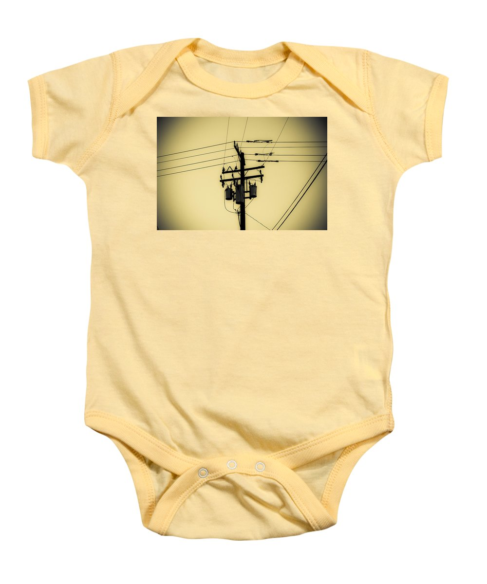 Telephone Pole Baby Onesie featuring the photograph Telephone Pole 4 by Scott Campbell