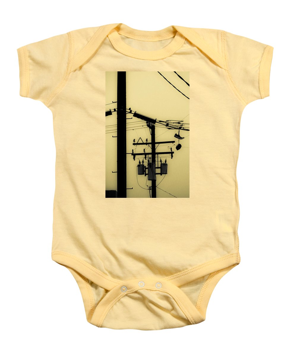 Telephone Pole Baby Onesie featuring the photograph Telephone Pole And Sneakers 5 by Scott Campbell