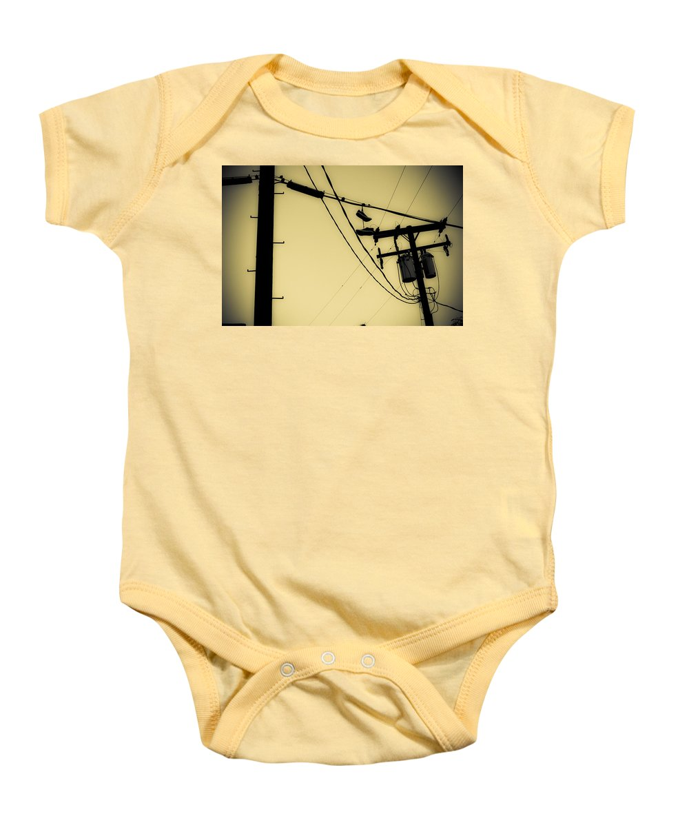 Telephone Pole Baby Onesie featuring the photograph Telephone Pole And Sneakers 9 by Scott Campbell