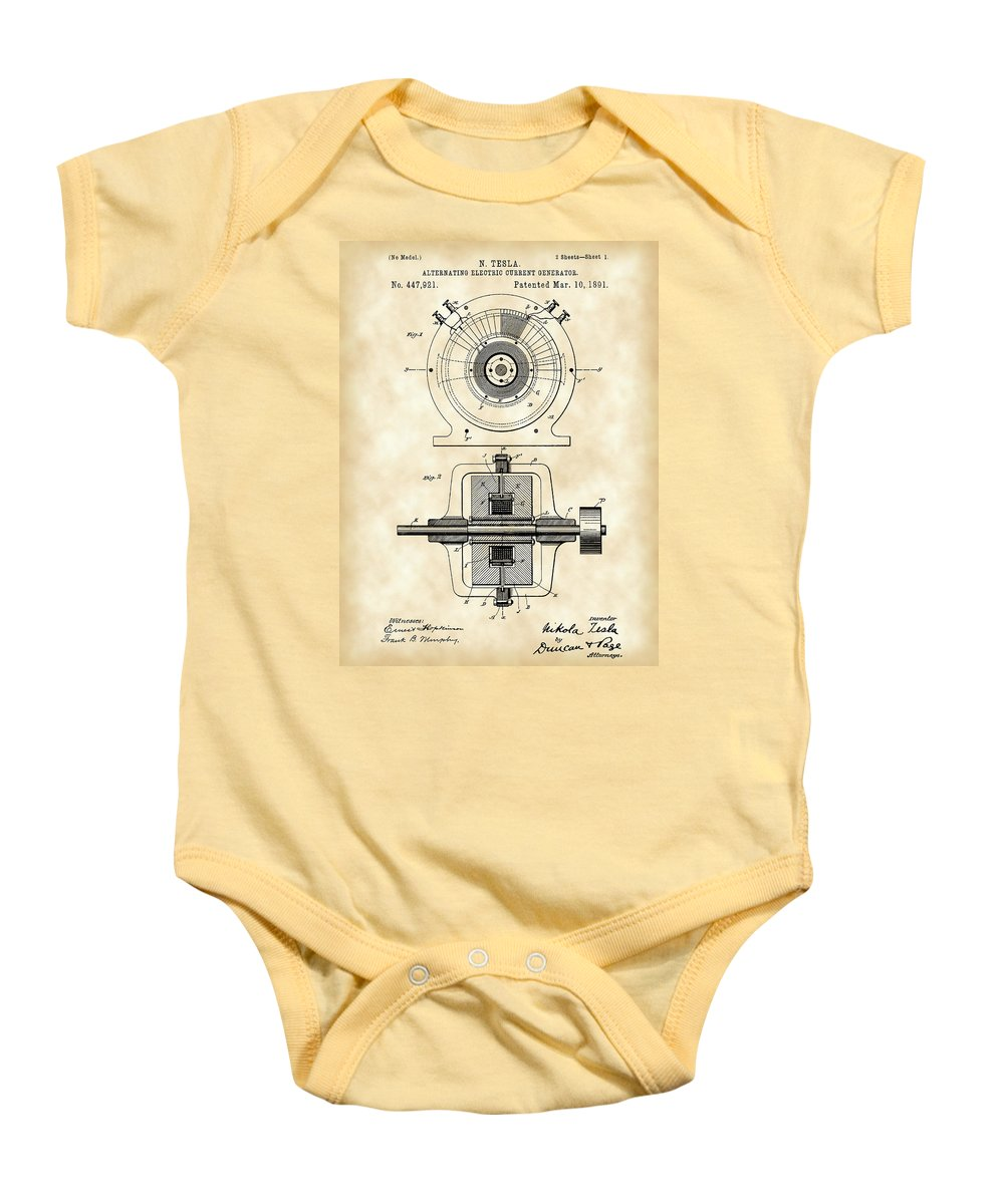 Patent Baby Onesie featuring the digital art Tesla Alternating Electric Current Generator Patent 1891 - Vintage by Stephen Younts