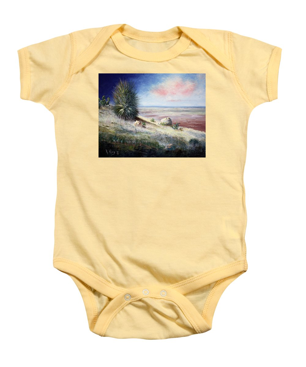 Roena King Baby Onesie featuring the painting The Colors Of Evening by Roena King
