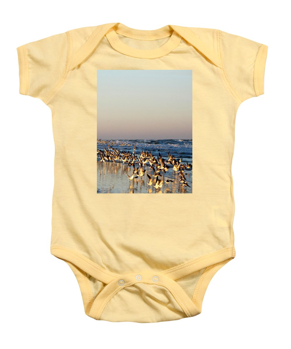 Ron Tackett Baby Onesie featuring the photograph The Landing by Ron Tackett