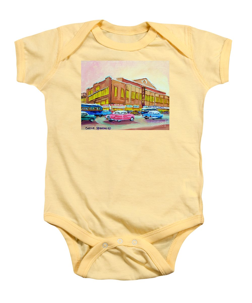 Montreal Baby Onesie featuring the painting The Montreal Forum by Carole Spandau