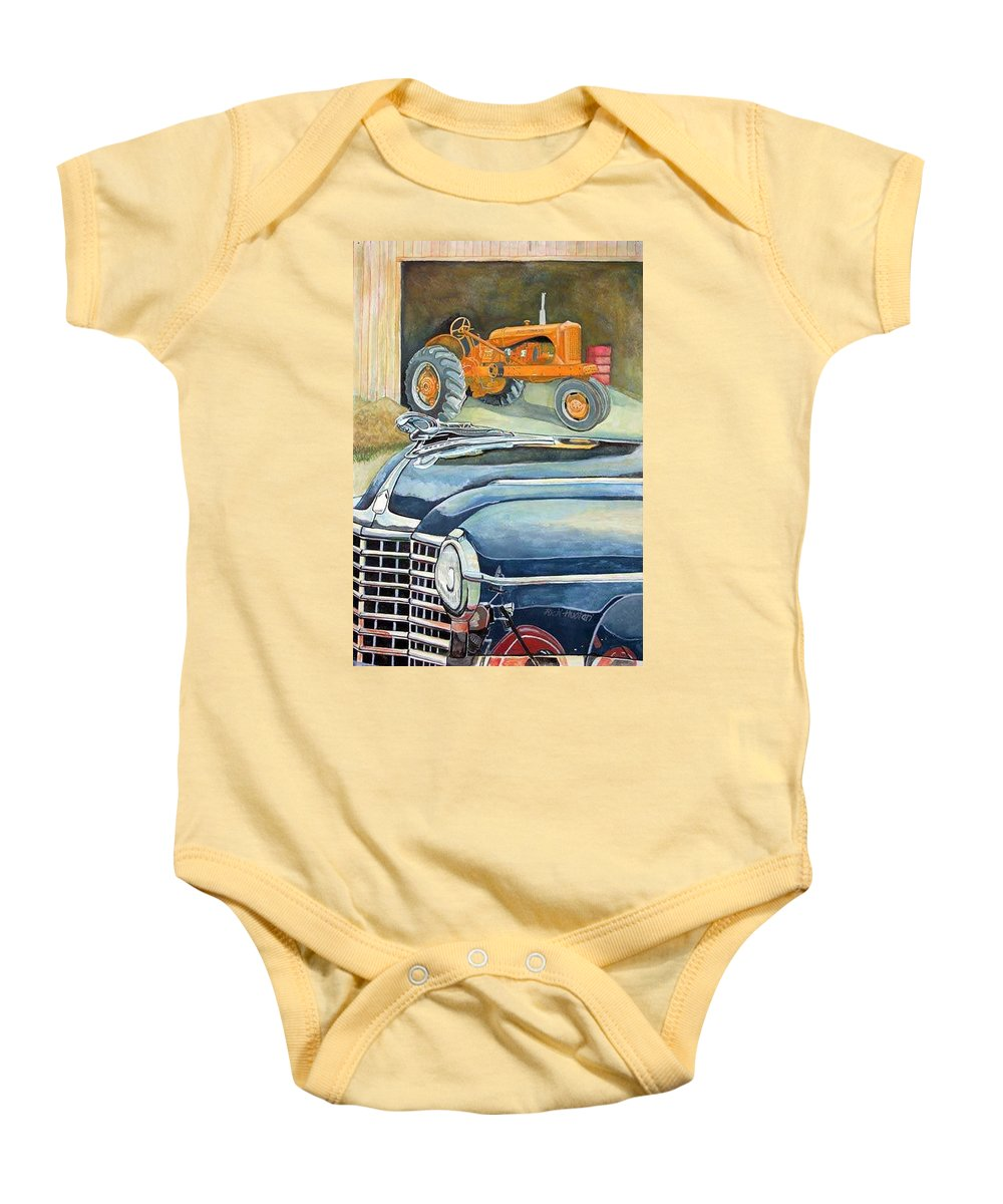 Rick Huotari Baby Onesie featuring the painting The Old Farm by Rick Huotari