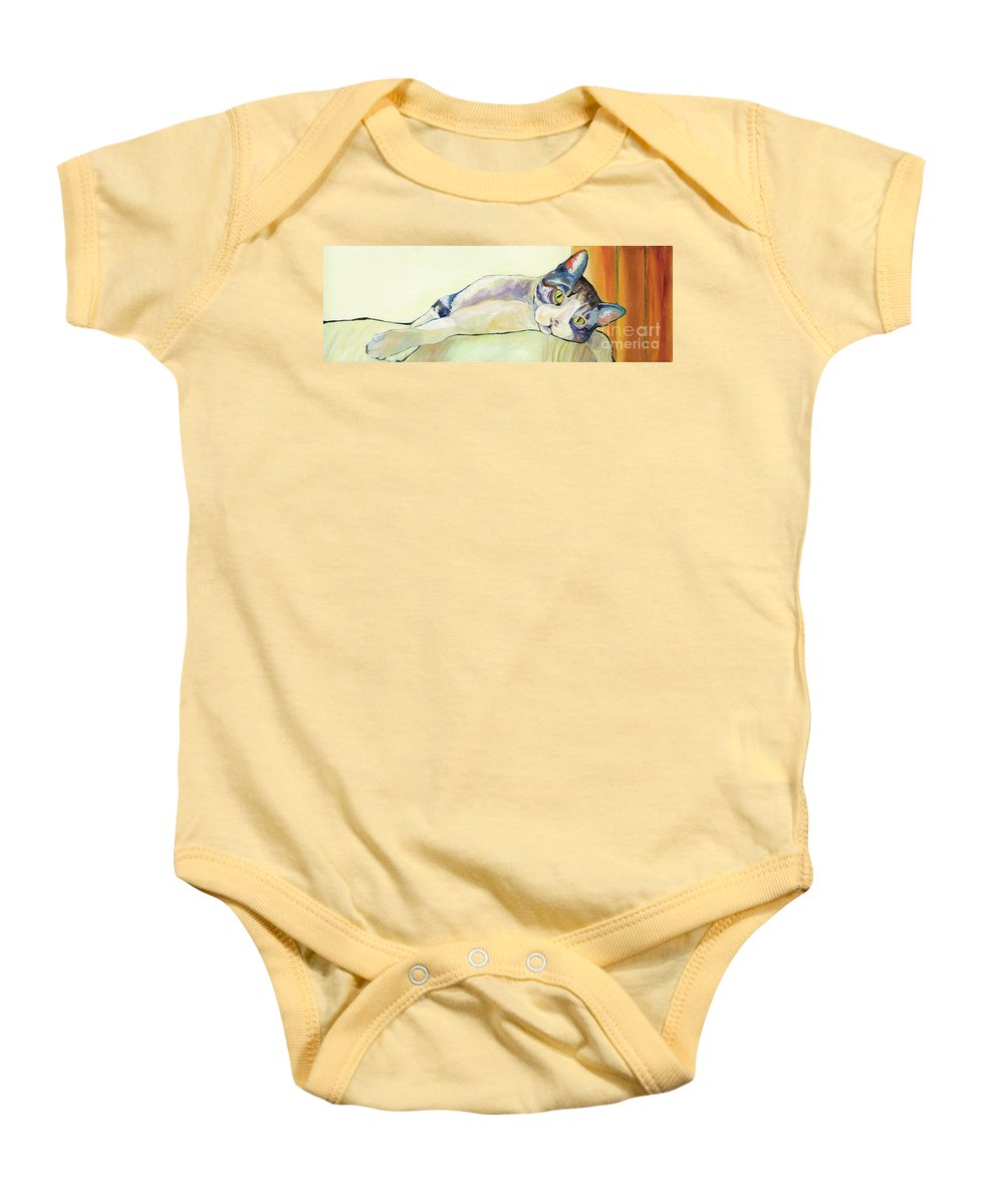 Pat Saunders-white Canvas Prints Baby Onesie featuring the painting The Sunbather by Pat Saunders-White