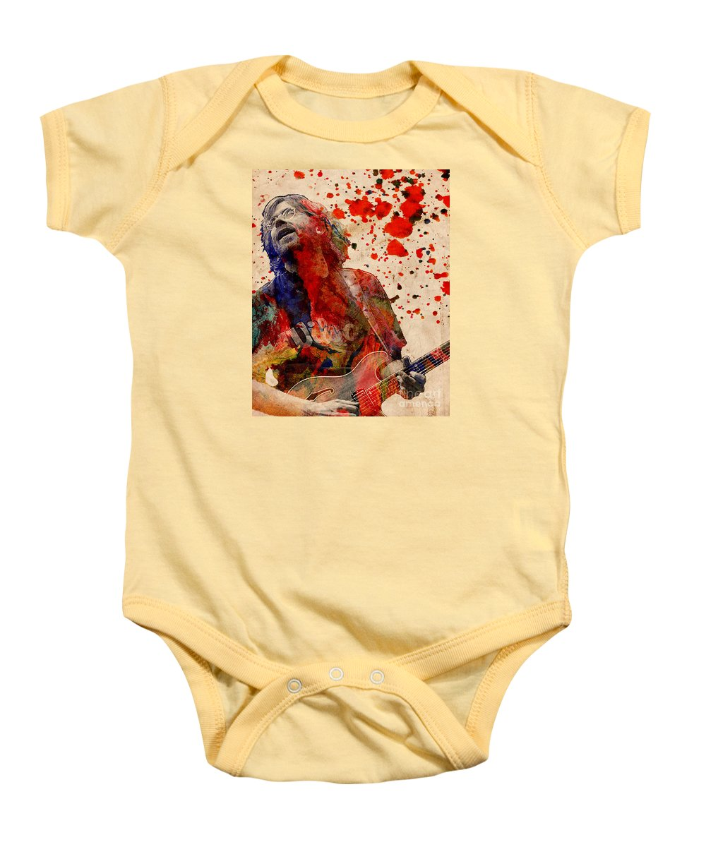 Rock N Roll Baby Onesie featuring the painting Trey Anastasio - Phish by Ryan Rock Artist