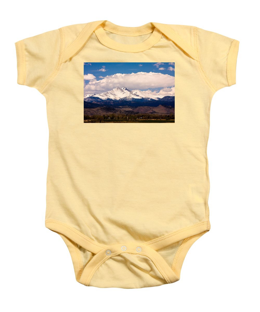 Twin Peeks Baby Onesie featuring the photograph Twin Peaks Snow Covered by James BO Insogna