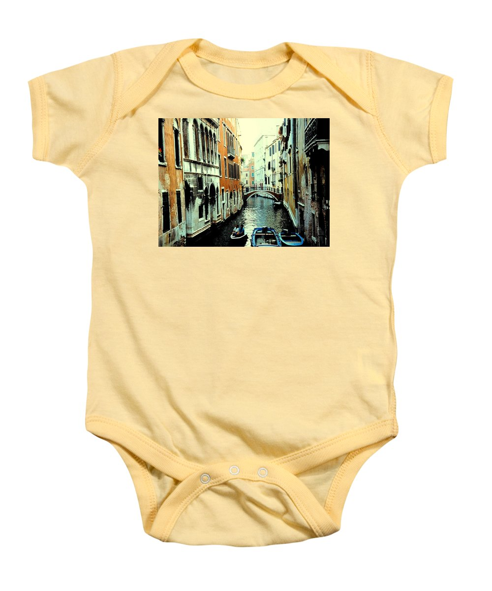 Venice Baby Onesie featuring the photograph Venice Street Scene by Ian MacDonald