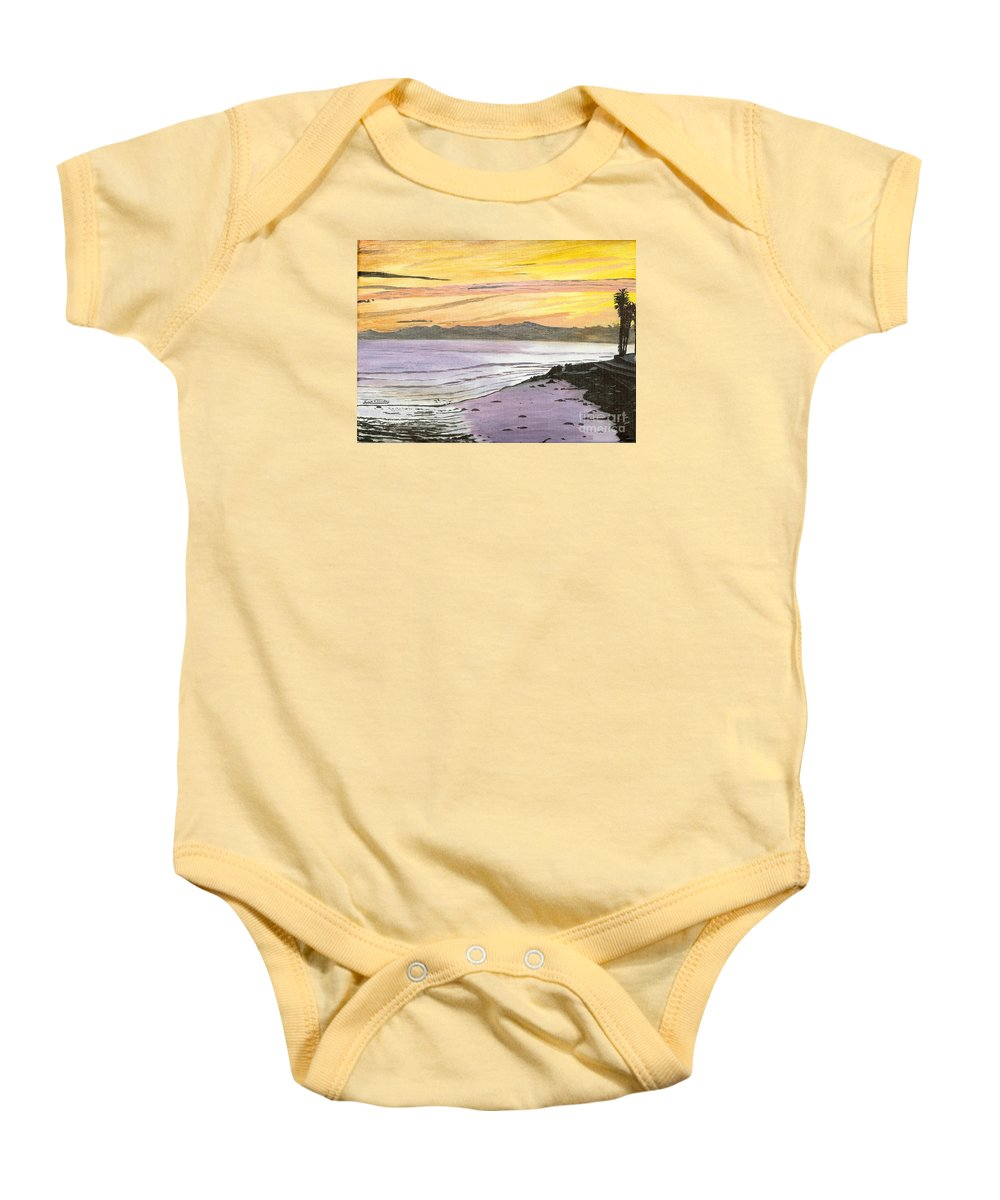 Waves Baby Onesie featuring the painting Ventura Point At Sunset by Ian Donley