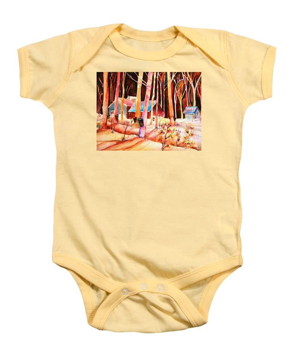 Montreal Baby Onesie featuring the painting Vermont Maple Syrup by Carole Spandau