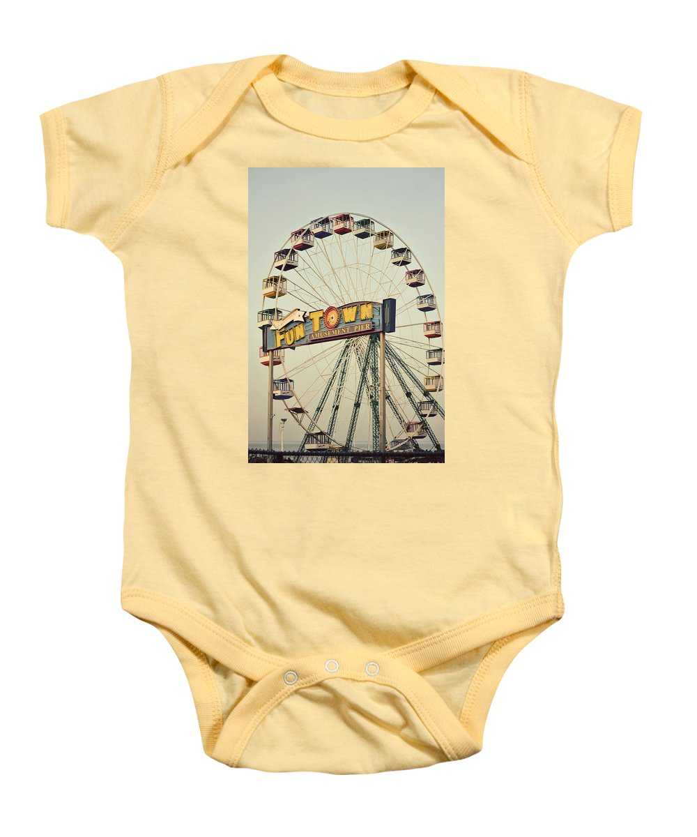 Vintage Baby Onesie featuring the photograph Vintage Funtown Ferris Wheel by Terry DeLuco