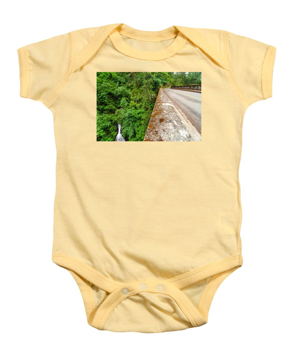 Nature Baby Onesie featuring the photograph Waterfall And Old Road by Jess Kraft