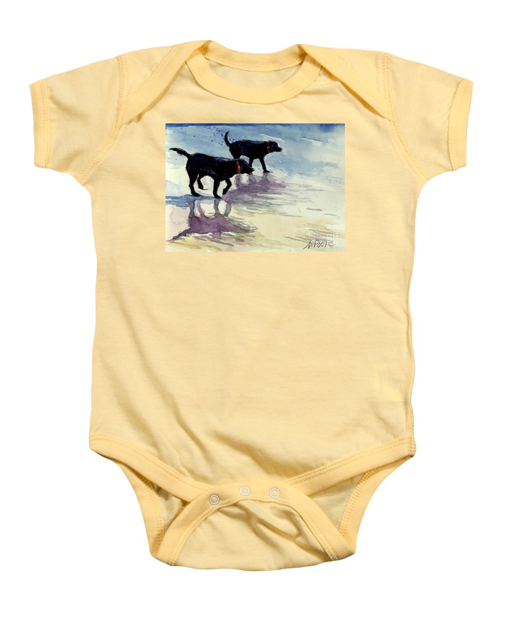 Black Dogs Baby Onesie featuring the painting Waverunners by Molly Poole