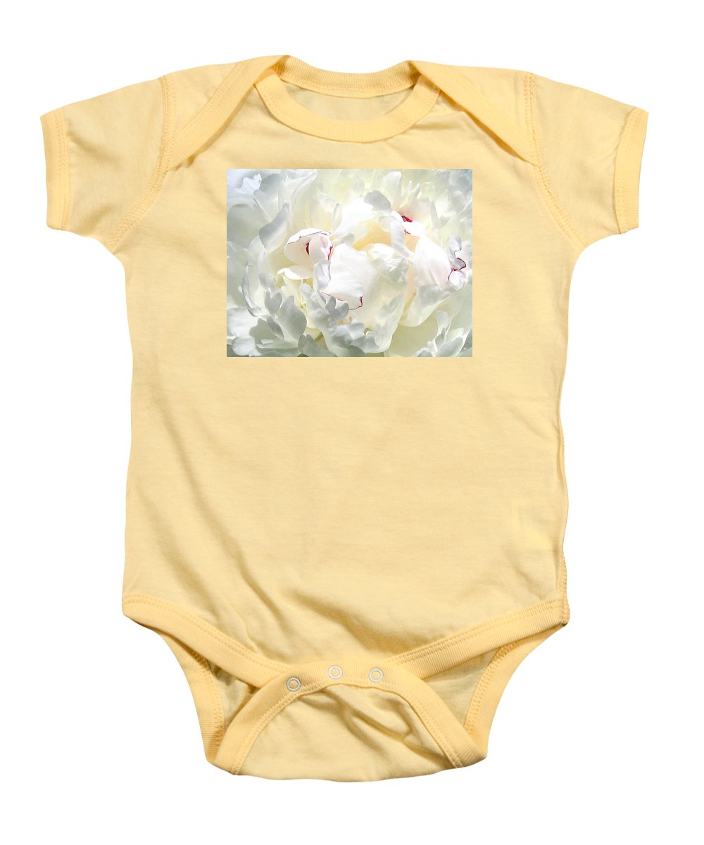 White Peony Baby Onesie featuring the photograph White Peony by Will Borden