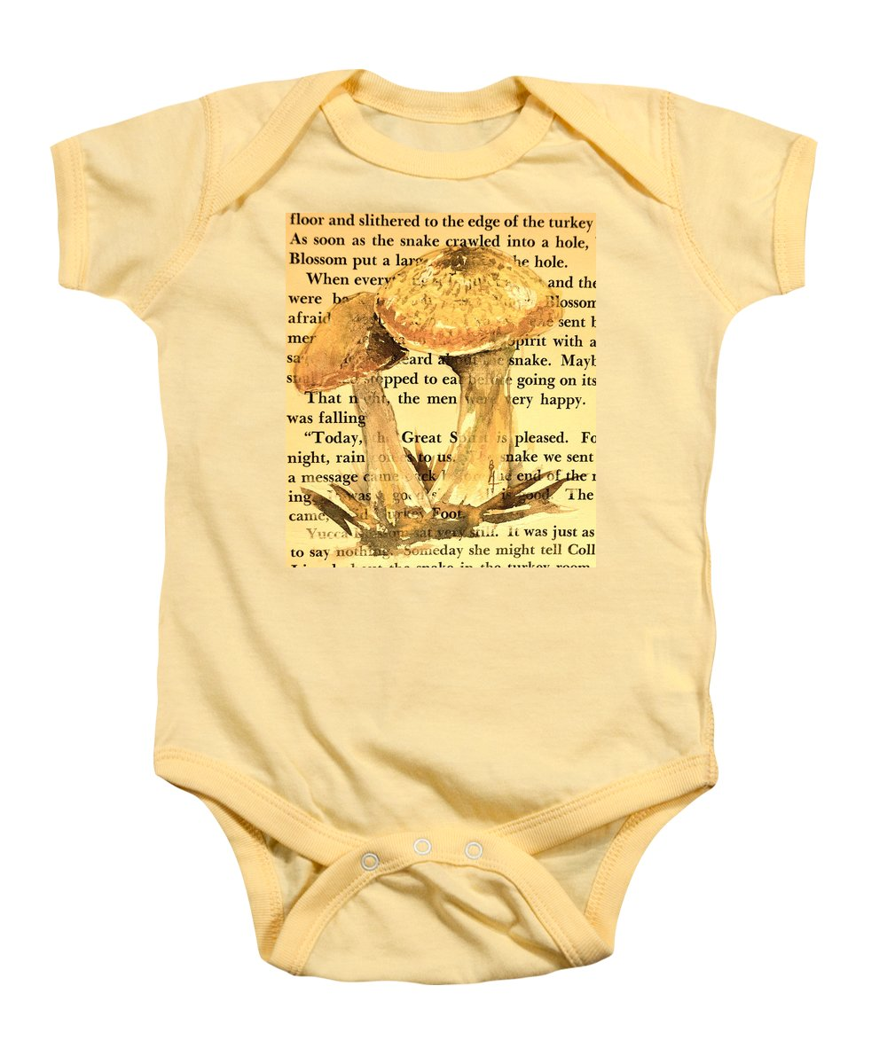 Wild Mushrooms Baby Onesie featuring the painting Wild Mushrooms Warm And Subtle by Beverley Harper Tinsley