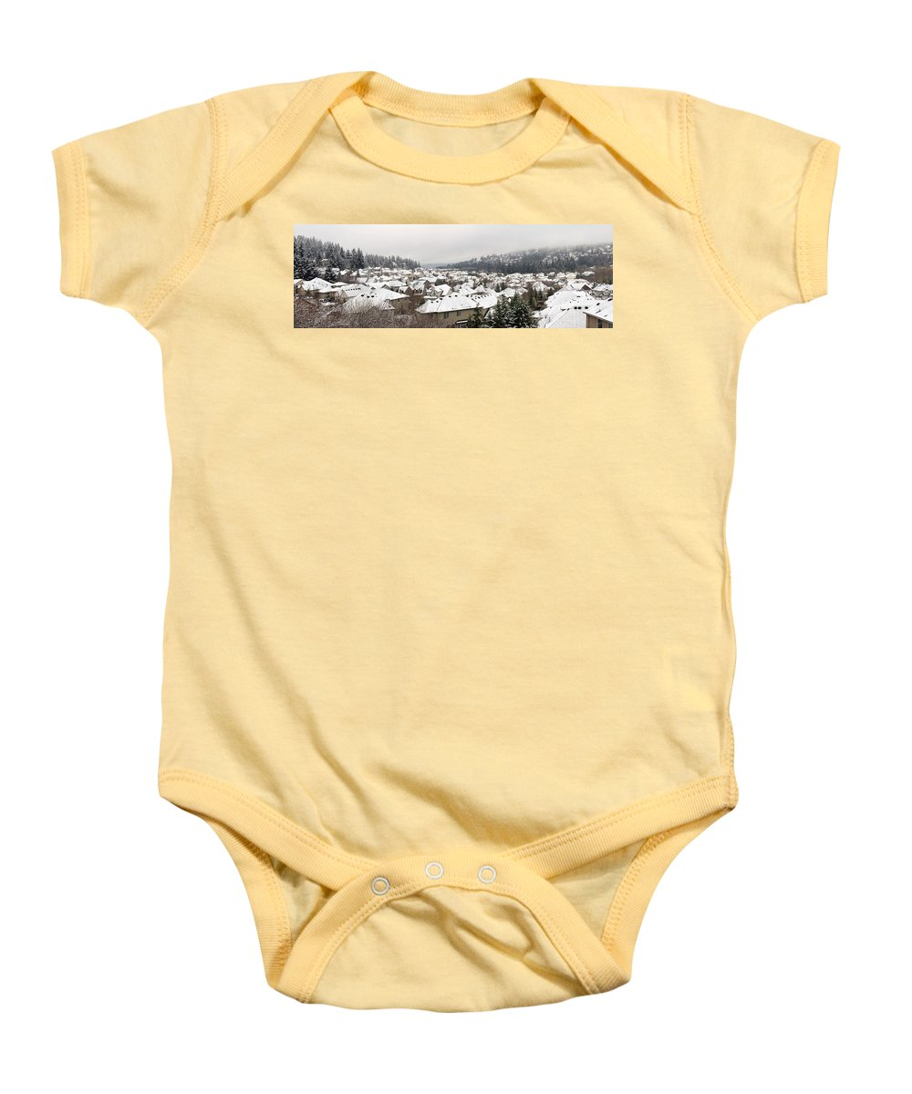 Winter Baby Onesie featuring the photograph Winter In Residential Suburban City by Jit Lim