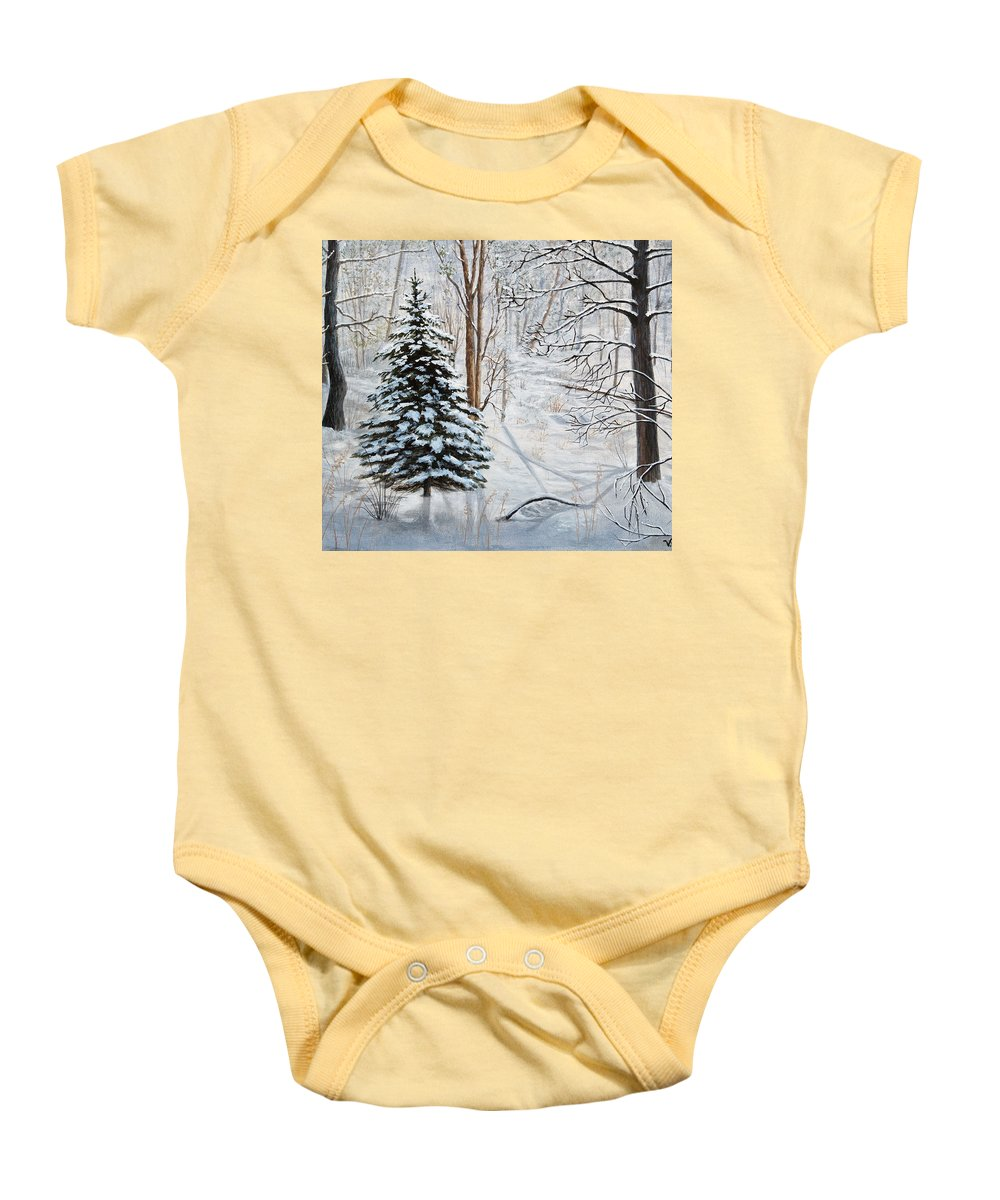 Winter Baby Onesie featuring the painting Winter's Peace by Vicky Path