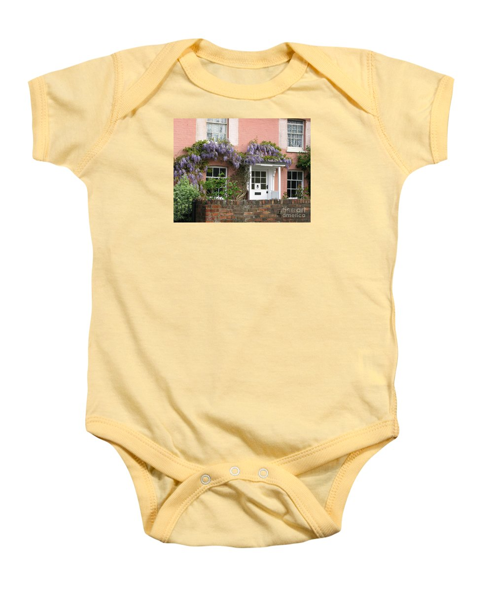 Wisteria Baby Onesie featuring the photograph Wisteria House by Ann Horn