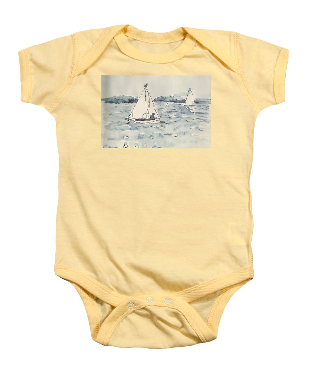 Yacht Baby Onesie featuring the drawing Yacht At Arcachon by Anita Bell