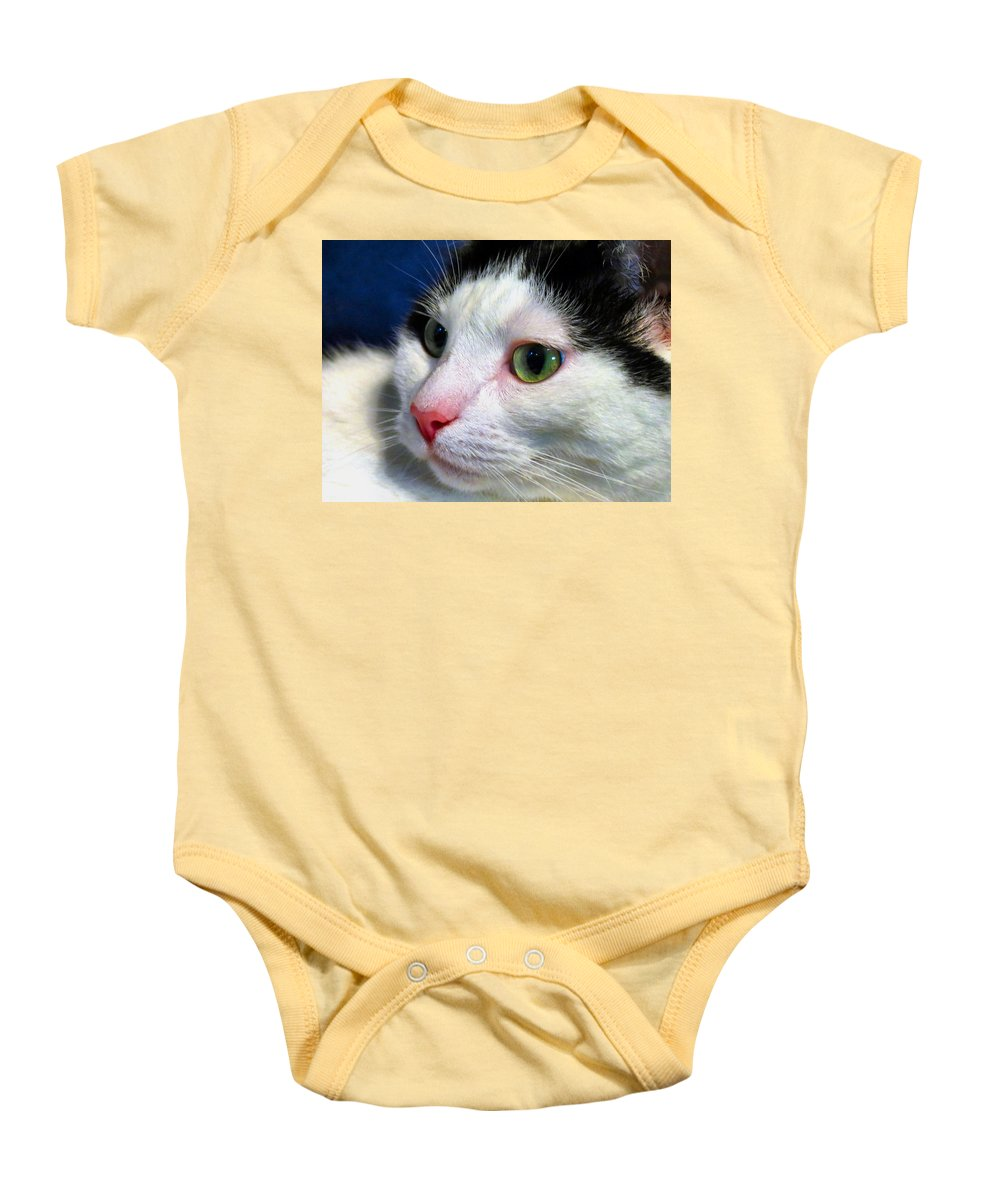 Cat Baby Onesie featuring the photograph Green Eyes by Art Dingo