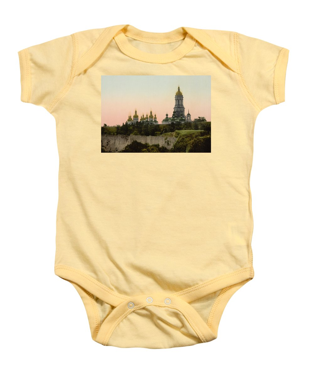 Lavra Baby Onesie featuring the photograph La Lavra - Kiev - Ukraine - Ca 1900 by International Images
