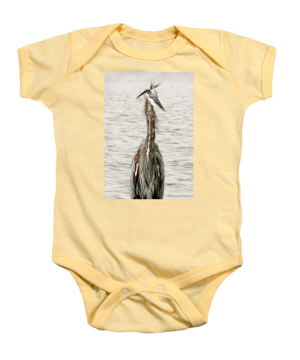 Nature Baby Onesie featuring the photograph Bad Hair Day by Peg Urban