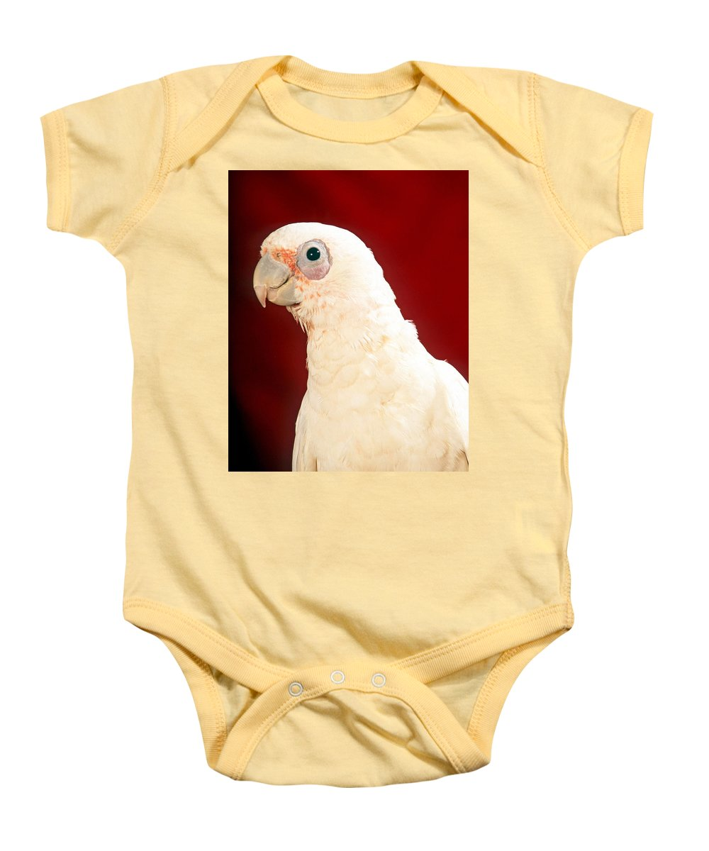 Bare Eyed Cockatoo Baby Onesie featuring the photograph Bare Eyed Cockatoo by Larry Allan