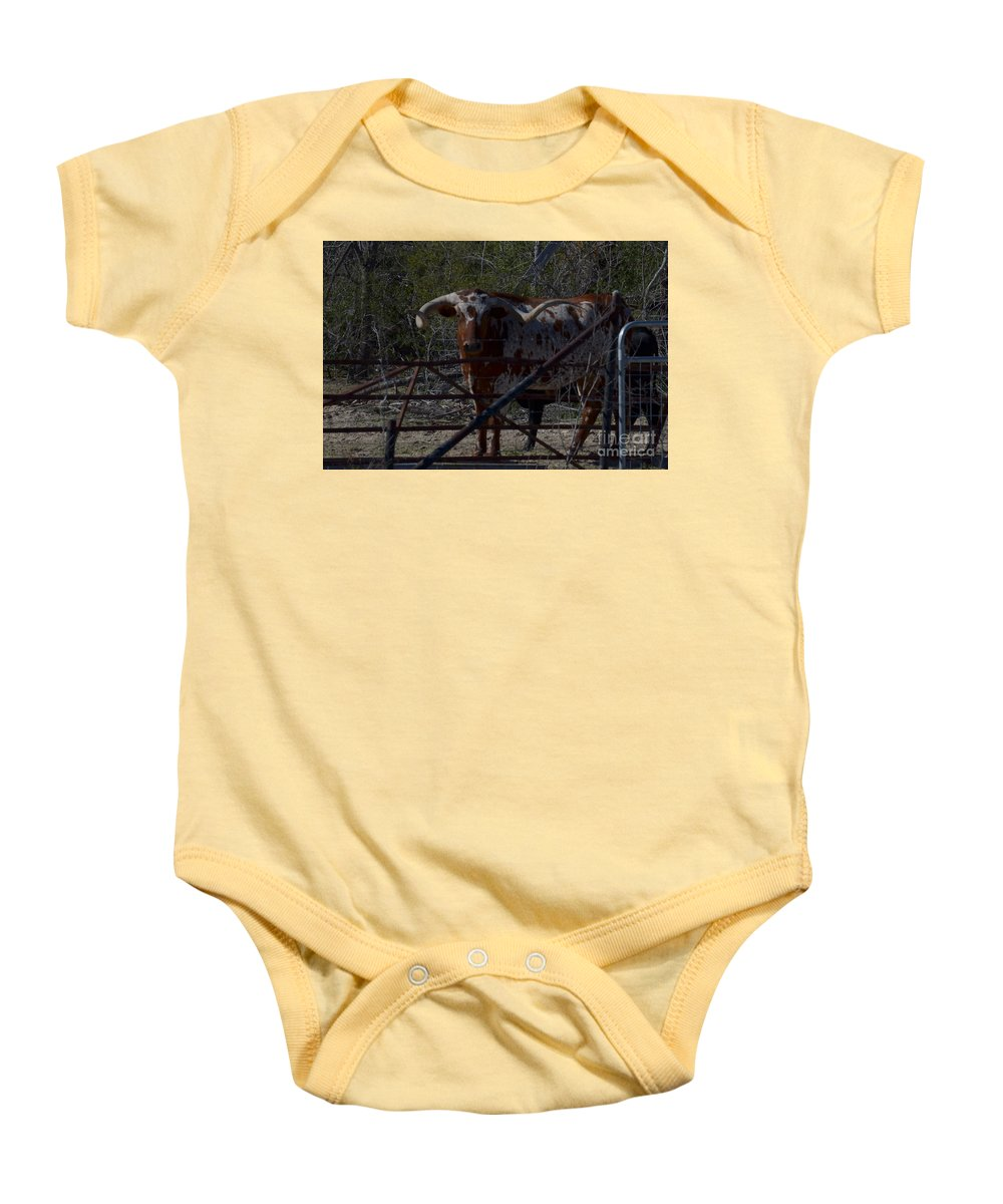 Animal Baby Onesie featuring the photograph Big Bull Long Horn by Donna Brown