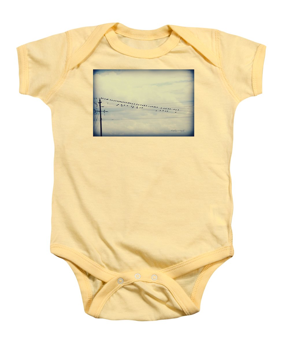 Nature Baby Onesie featuring the photograph Birds On A Wire Polaroid by Paulette B Wright