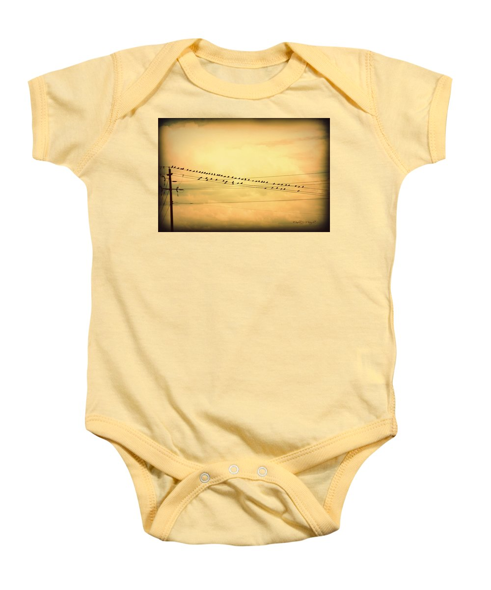 Interior Design Baby Onesie featuring the photograph Birds On A Wire Yellow Orange by Paulette B Wright