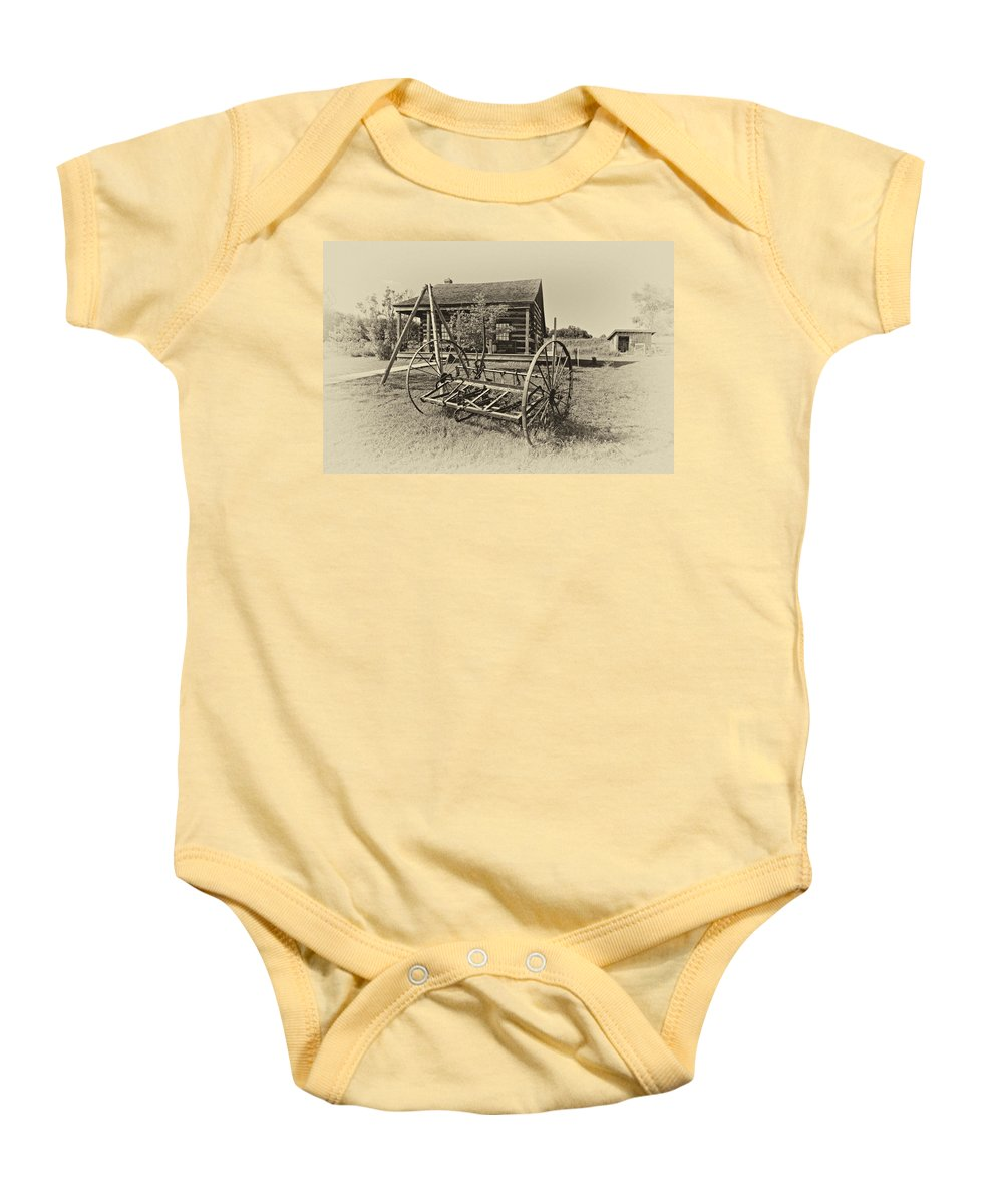 Grey Roots Museum & Archives Baby Onesie featuring the photograph Country Classic Antique by Steve Harrington