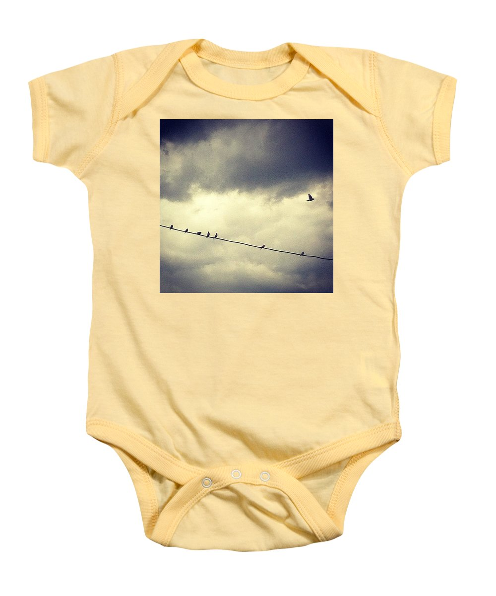 Baby Onesie featuring the photograph Da Birds by Katie Cupcakes