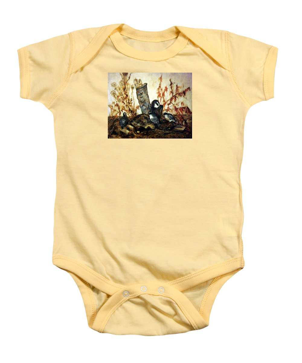 Little Birds Baby Onesie featuring the painting Flying Friends by Janet Lavida