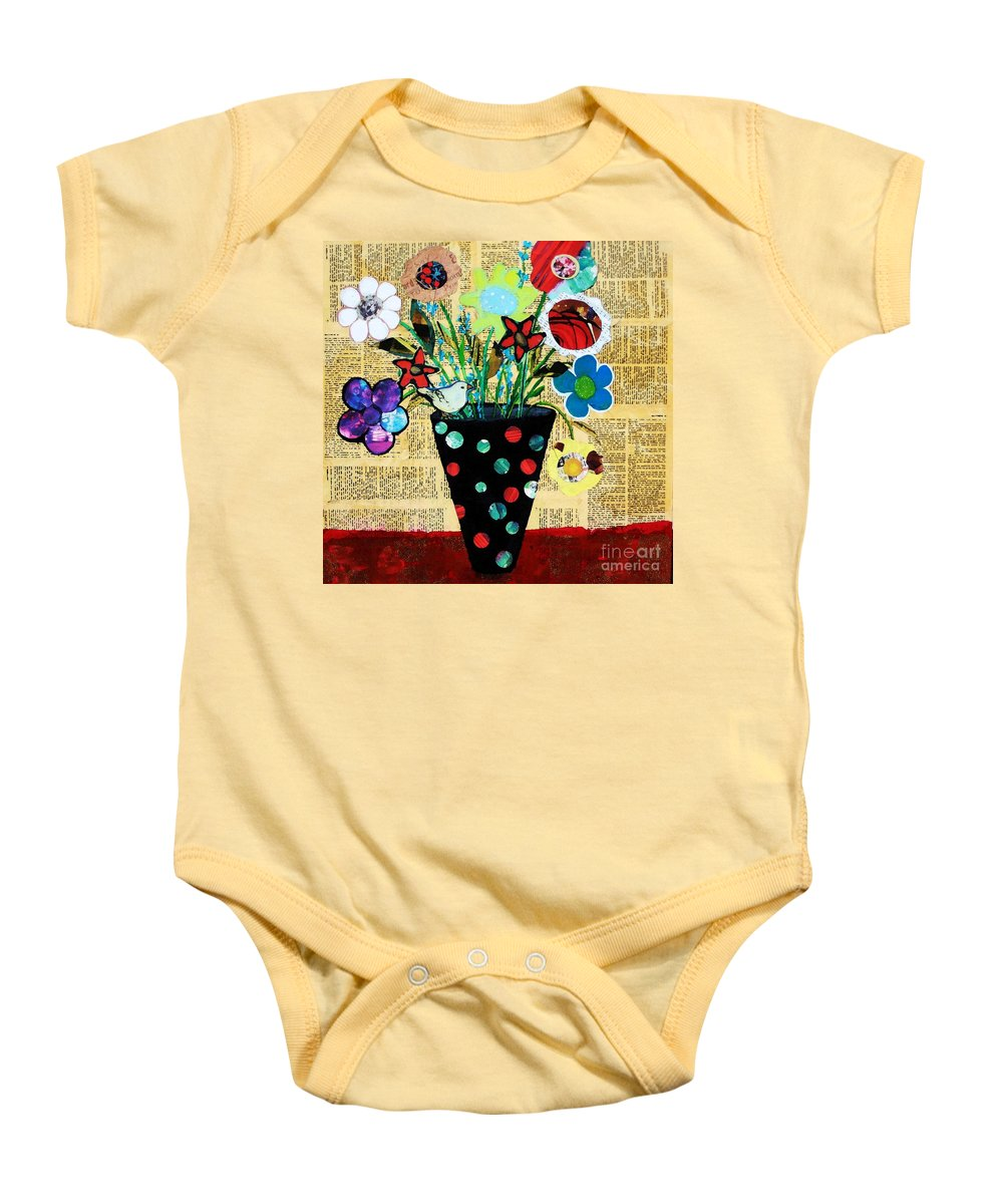 Flowers Baby Onesie featuring the painting Funky Flowers by Melinda Etzold