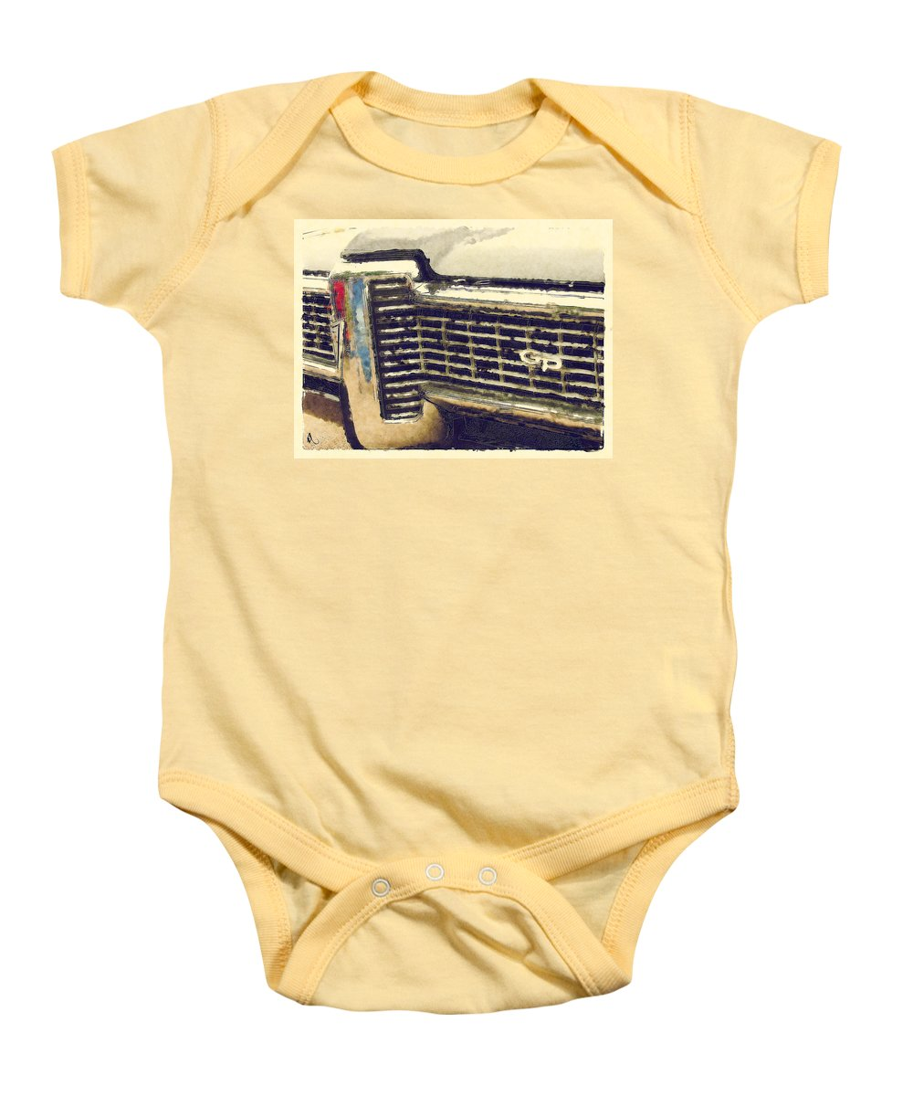 Classic Cars Baby Onesie featuring the painting G P by Adam Vance