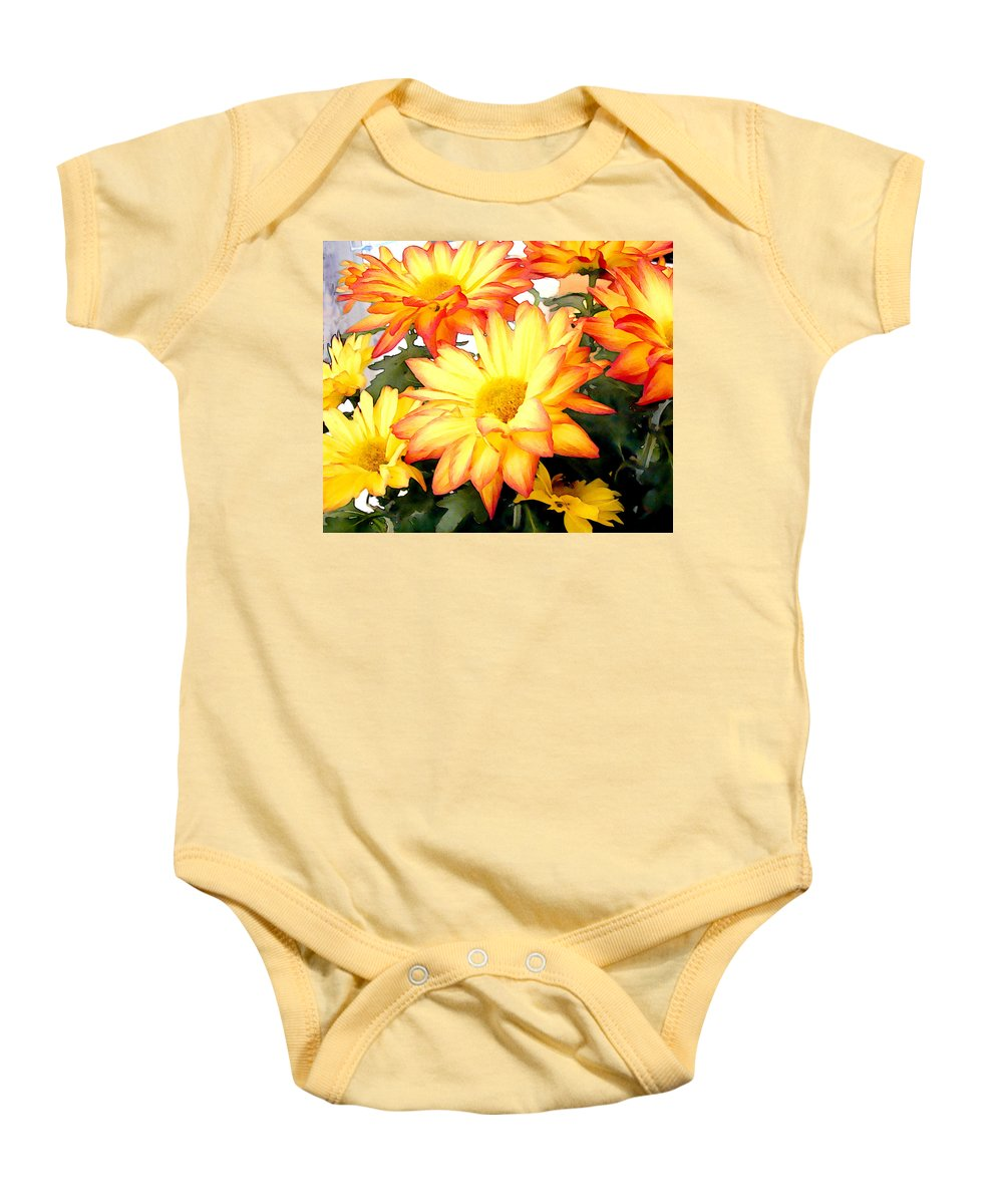 Flower Flowers Mums Chrysanthemum Garden Flora Floral Mum Chrysanthemums Fall Autumn Gold Baby Onesie featuring the painting Gold And Red Autumn Mums by Elaine Plesser