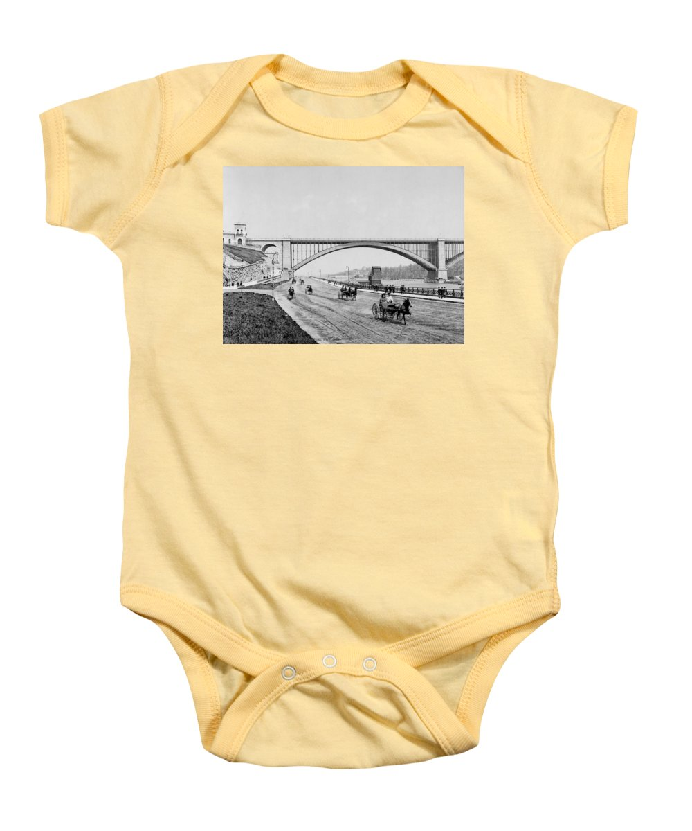 george Washington Bridge Baby Onesie featuring the photograph Harlem River Speedway Scene Beneath The George Washington Bridge by International Images