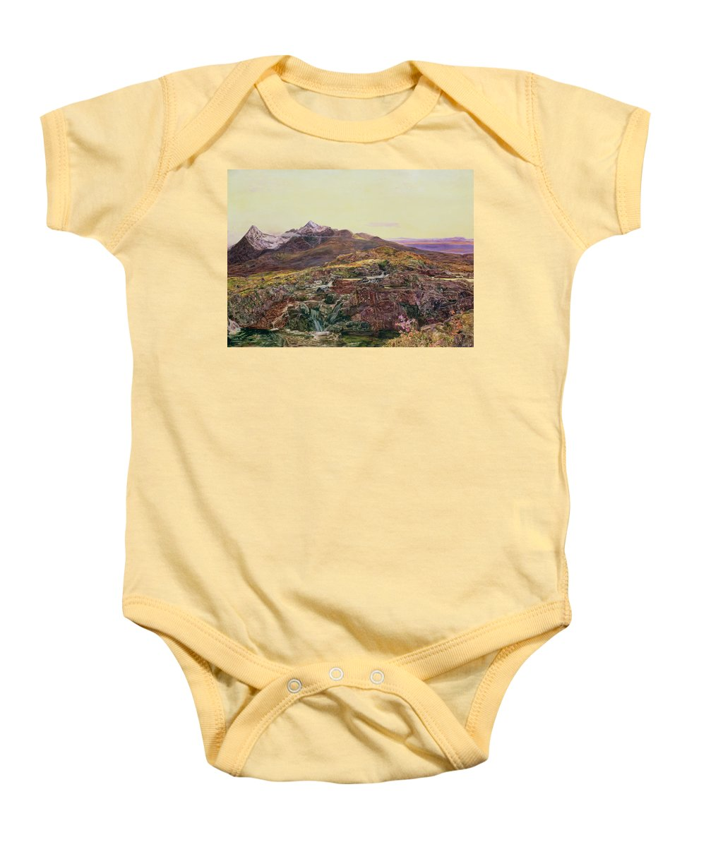 Cuillin Ridge Baby Onesie featuring the painting John William Inchbold by Skye from Sligechan