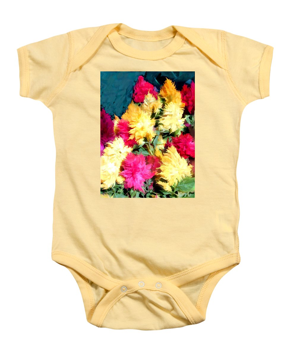 Flower Flowers Garden Celosias Flora Floral Nature Cockscomb Cockscombs Feathery Red Pink Yellow Gold Plumes Plume Celosia Natural Bloom Blooms Blossoms Blossom Bouquet Arrangement Colorful Plant Plants Botanical Botanic Blooming Gardens Gardening Tropical Baby Onesie featuring the painting Mixed Celosias In Fall Colors by Elaine Plesser