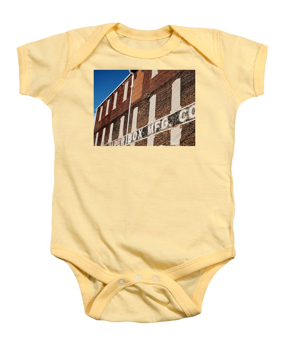 Brick Baby Onesie featuring the photograph Paper Box Building by Michele Nelson