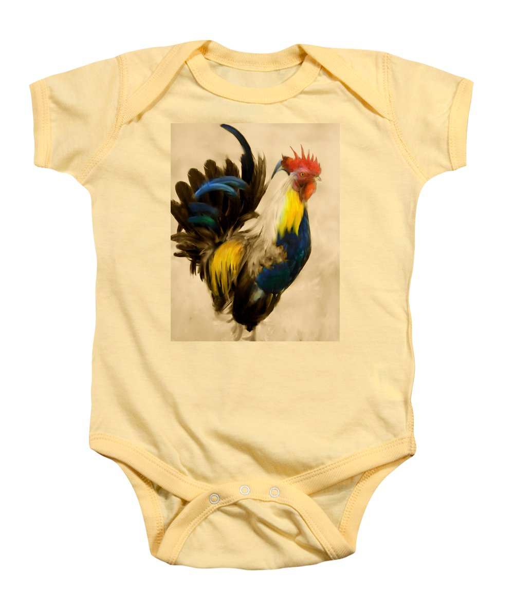 Rooster Baby Onesie featuring the painting Rooster On The Prowl 2 - Vintage Tonal by Georgiana Romanovna