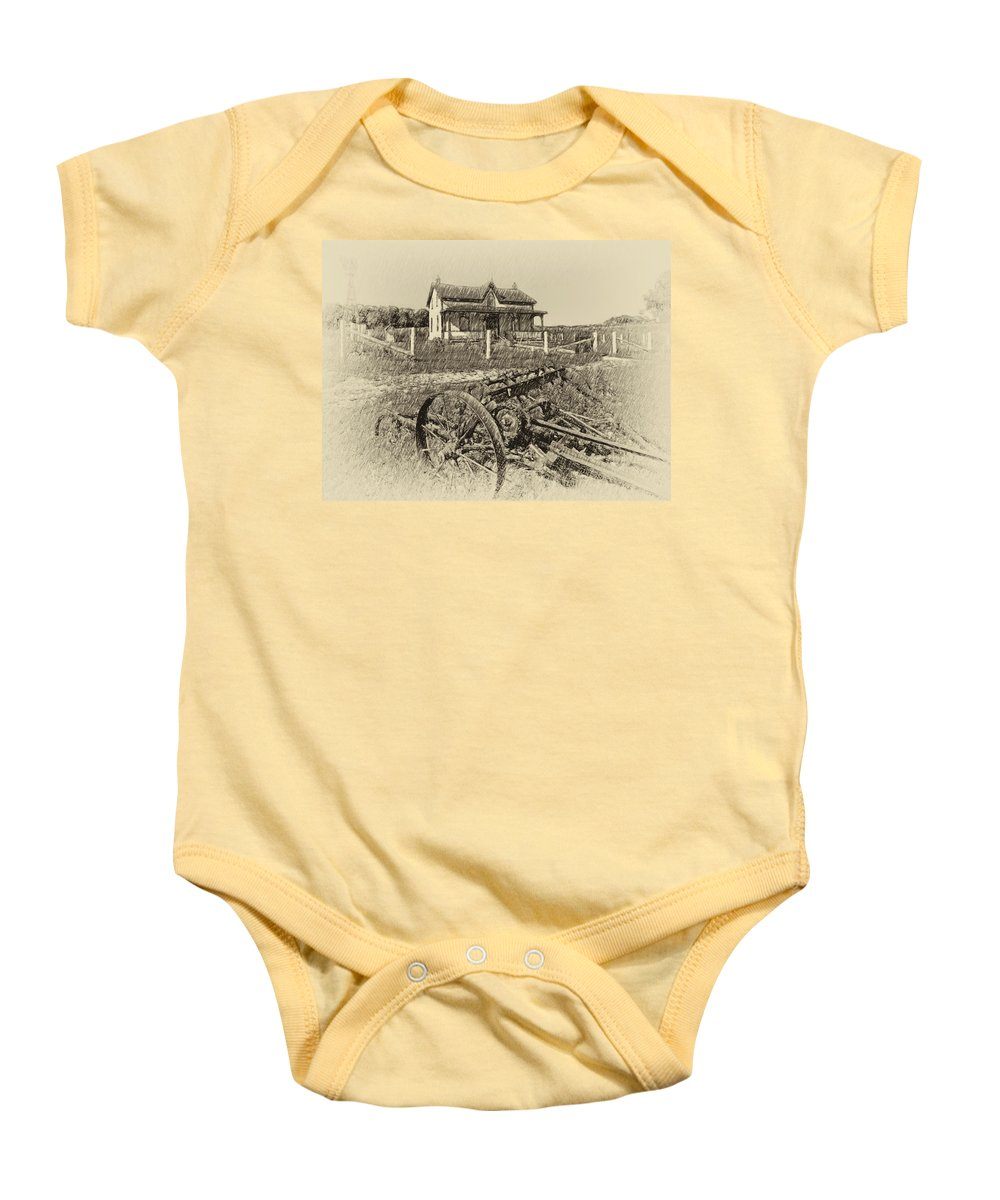 Grey Roots Museum & Archives Baby Onesie featuring the photograph Rural Ontario Antique by Steve Harrington