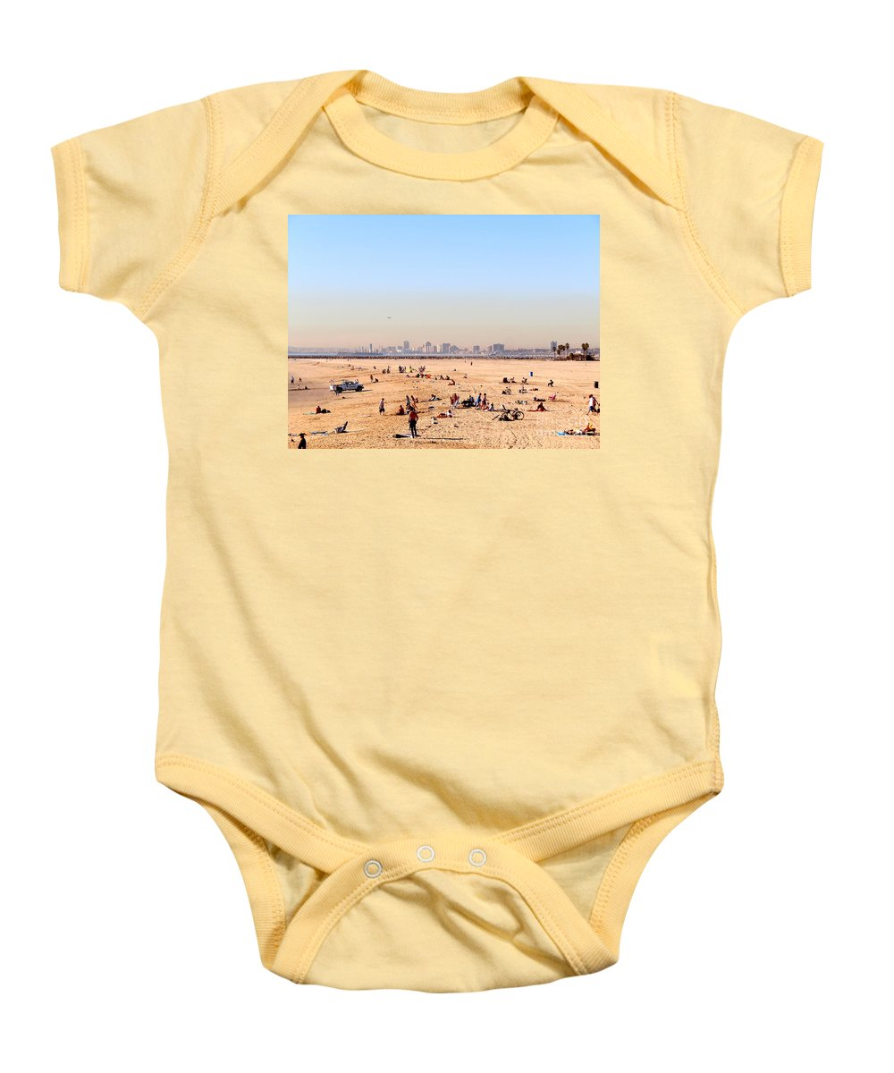 Seal Beach Baby Onesie featuring the photograph Seal Beach In January by Customikes Fun Photography and Film Aka K Mikael Wallin