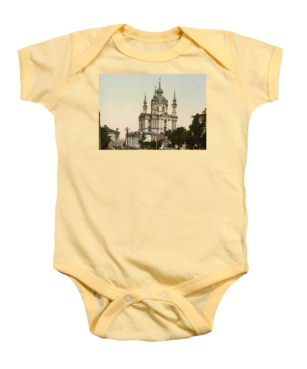 Андрiївська церква Baby Onesie featuring the photograph St Andrews Church In Kiev - Ukraine by International Images