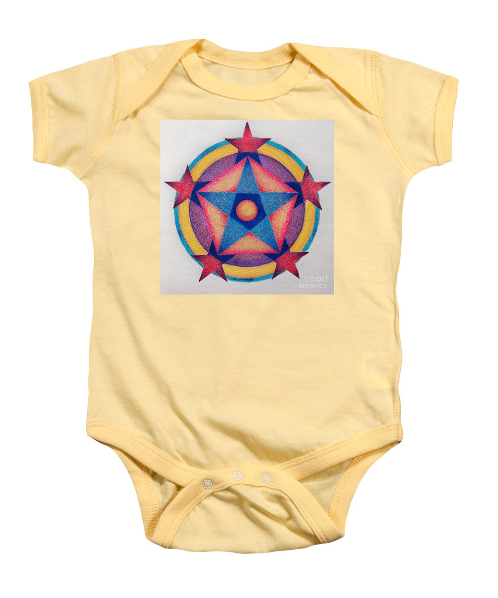 Spiritual Baby Onesie featuring the painting Stars Of The Pentagon Mandala by Brian Commerford