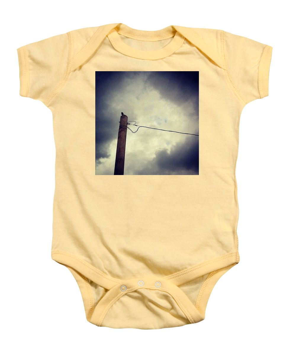 Storm Baby Onesie featuring the photograph #storm Watcher by Katie Cupcakes