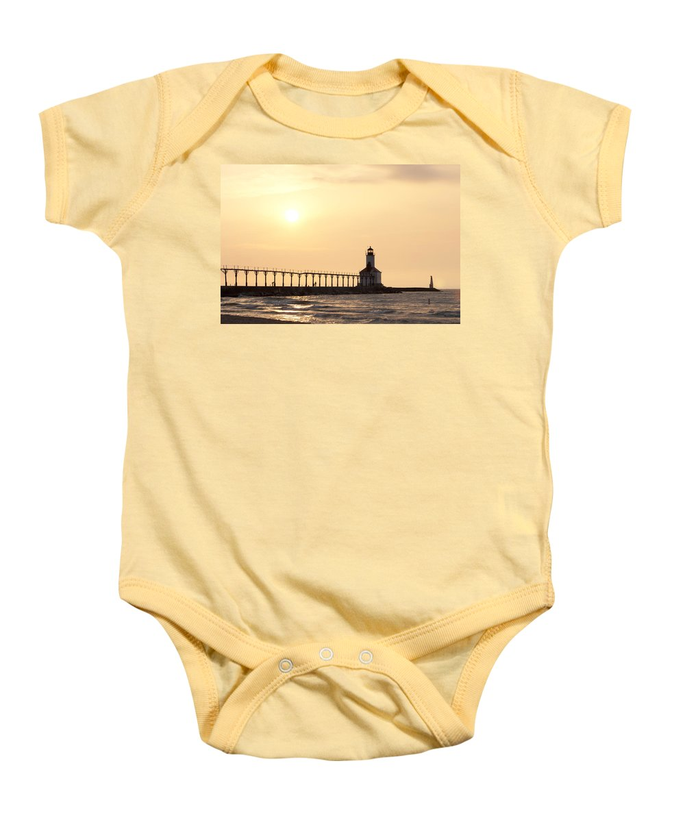 Sunset Baby Onesie featuring the photograph Sunset At The Lighthouse by Scott Wood